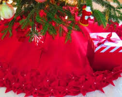 65Christmas Tree Skirt In A Deep Red Premium Felt With Hand Cut And Sewn Flowers FREE SHIPPING