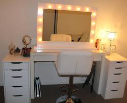 bedrooms vanity white wooden makeup table with lighted rectangle