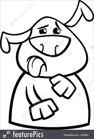 Pets Black And White Cartoon Illustration Of Funny Disgusted Dog Expressing Yuck For Coloring Book