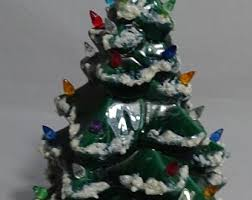 Small Green Lighted Ceramic Christmas Tree On Base