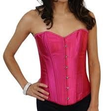 pink satin lace up strong boned corset