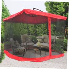 square offset patio umbrella with netting outdoor decoration