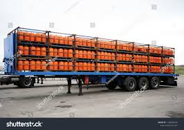 100 Truck And Trailer Supply Loaded Butane Cylinders Stock Photo Edit Now