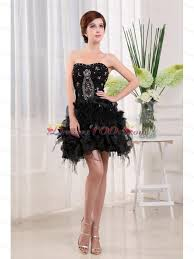 Strapless Black Tulle Mini Length Prom Cocktail Dress With Beading