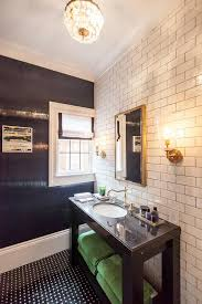 white and black bathroom with green accents contemporary bathroom