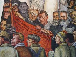 detail of diego rivera mural leon trotsky karl marx flickr
