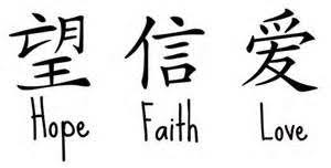 Chinese Symbols For Faith Hope Charity Tattoos