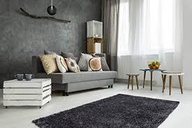 teppich hochflor shaggy modern kuschelig wohnzimmer schlafzimmer uni anthrazit