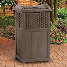 Suncast Resin Patio Furniture by Suncast Resin Trash Receptacle Mocha Brown Hayneedle