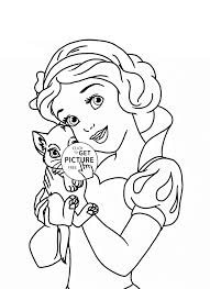 Disney Princess Belle With Cat Coloring Page For Kids Pages Printables Free