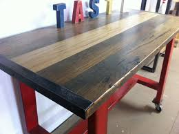 Red Metal Island Bench With Blackbutt Top