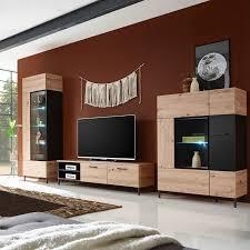 lucas 1 wohnzimmer komplettset artisan eiche schwarz