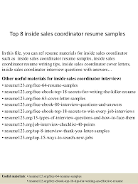 Top 8 Inside Sales Coordinator Resume Samples In This File You Can Ref Materials
