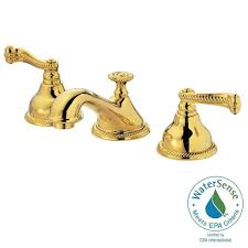 Unlacquered Brass Lavatory Faucet by Kingston Brass 8 In Widespread 2 Handle High Arc Bridge Bathroom