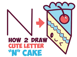 How to Draw a Cute Kawaii Piece of Cake with a Face on it from the Letter N Easy Step by Step Drawing Tutorial for Kids How to Draw Step by