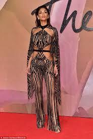British Carpet by Nicole Scherzinger Arrives At The British Fashion Awards In Barely