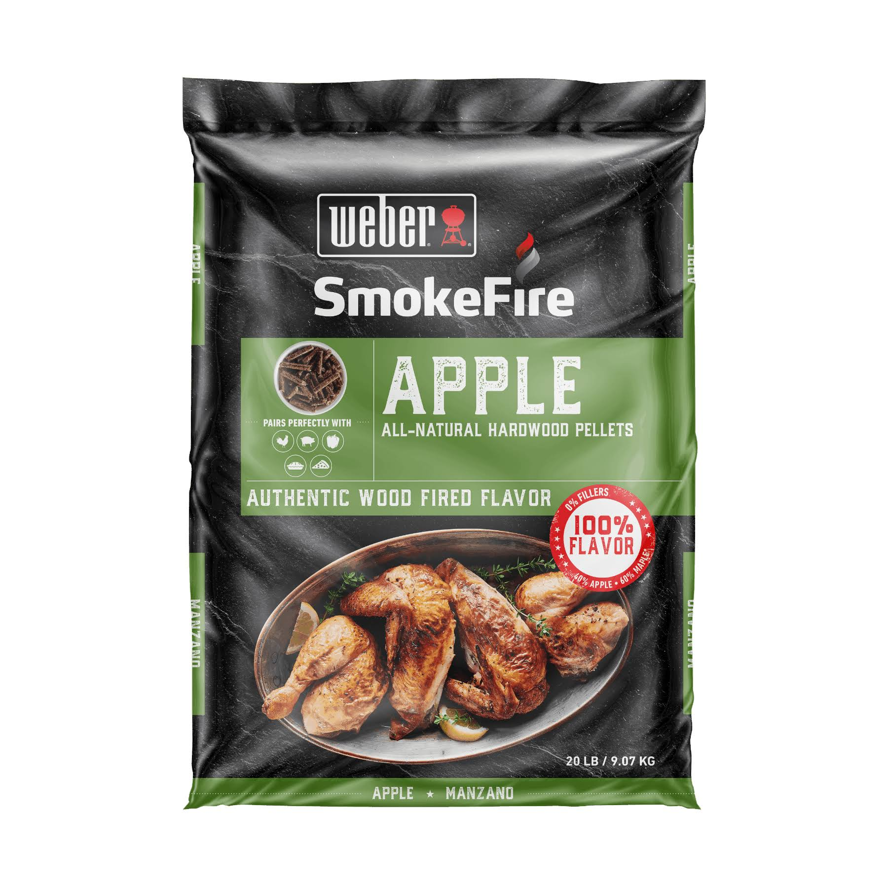 Weber 190004 SmokeFire Apple All-Natural Hardwood Pellets - 20 lbs