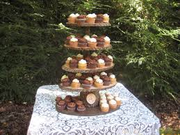 Inspirations Cupcake Wedding Cake Stand With Rustic Wood Dessert Bar By YourDivineAffair