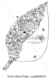 Vector Illustration Zentangl Leaf With Flowers Hidden Fox Bird Rabbit Hedgehog