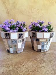 Mosaic Flower Pot Set Small Rustic Indoor Planter Succulent Pots Outdoor Kitchen Plant Storage Handmade Containers Patio