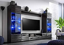 bim furniture wohnwand modic 260 cm anbauwand wohnzimmer set vitrine lowboard schwarz hochglanz led