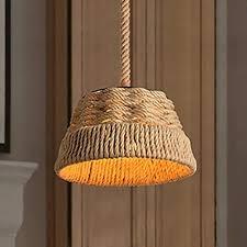 hslj1 rustikale hanfseil hängendes licht retro blumen korb