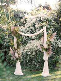 Simple Fabric Wedding Ceremony Arch By Sarah Winward Photo Green Apple Photography