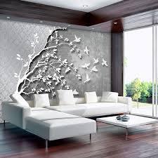 consalnet vliestapete silber baum mit vögeln verschiedene motivgrößen für das büro oder wohnzimmer