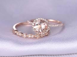 Morganite Engagement Ring Wedding Ring Set 14k Rose Gold Art Deco