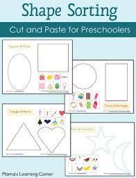 4 Page Set Of Preschool Shape Sorting Worksheets