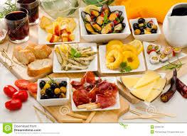 cuisine espagne cuisine espagnole variété de tapas des plats blancs image stock