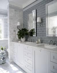 bathroom vanity mirrors brushed nickel subway tile gray floor
