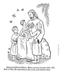 Jesus Blesses The Children Coloring Page To Print