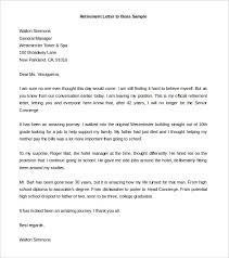Retirement Letter To Boss Sample Word Doc Download