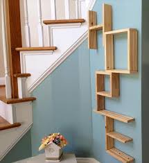Wall Shelves Made From Pallets Thin Strong Wooden Material Square Brown Stayed Rack Modern Design Varnished