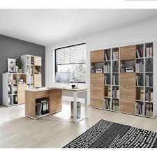 büro eck winkelschreibtisch mit integriertem sideboard gent 01 in navarra eiche nb und weiß bxhxt ca 120x75x117cm