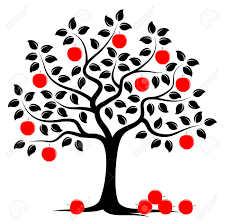 vector apple tree with pile of apples isolated on white background Stock Vector