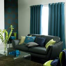 Teal Curtains Gray Couch