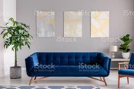 einen dunkelblauen samt vor einer grauen wand mit grafischen bildern in einem modernen wohnzimmer interieur echtes foto stockfoto und mehr