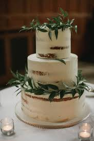 White Nearly Naked Cake With Greenery