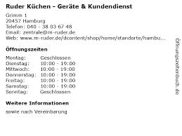 ᐅ öffnungszeiten ruder küchen geräte kundendienst