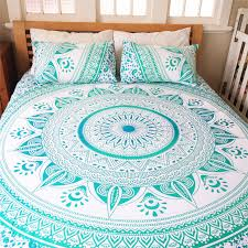Sea Green & White Ombre Medallion Circle Duvet Cover With Set 2