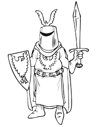 Knight Coloring Page With Helmet Shield And Sword