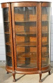 Pulaski Display Cabinet Vitrine by Antique Curio Cabinets Quarter Sawn Oak Curved Glass China