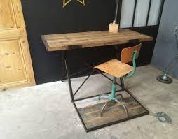 bureau industriel metal bois ancien bureau bois et métal