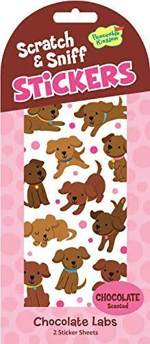 Peaceable Kingdom Scratch & Sniff Stickers - Chocolate Labs, 2 Sheets