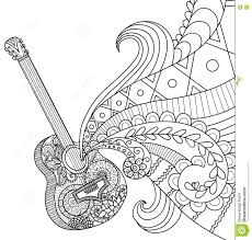 Royalty Free Vector Download Doodles Design Of Guitar For Coloring Book Adult