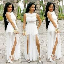 new women sleeveless white lace bodycon long evening dress g6630