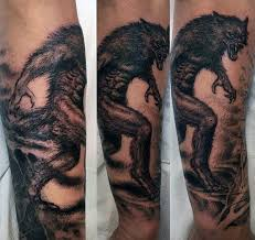 Awesome Pencil Work Werewolf Tattoo Mens Forearms