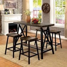 Furniture Of America Hollenbeck Rustic Medium Weathered Oak Black Counter Height Table